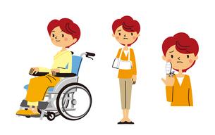 車いすに乗る女性、腕吊りする女性、指に包帯する女性のイラスト素材 [FYI01653591]