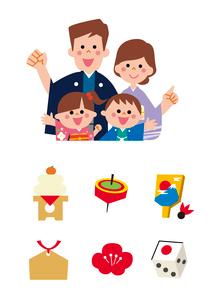 家族とお正月アイコンのイラスト素材 [FYI01653594]