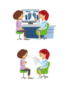 婦人科診療/ミドル女性患者と女医(レントゲン診察、安心)のイラスト素材 [FYI01653601]