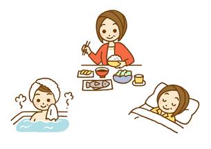 食事と睡眠と入浴のイラスト素材 [FYI01653603]