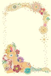 子馬と花と光の輪(タテ)のイラスト素材 [FYI01653606]