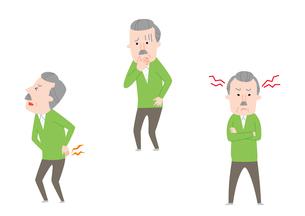 腰痛、吐き気、頭痛のおじいさんのイラスト素材 [FYI01653610]