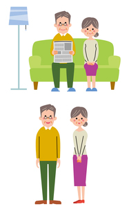 ソファに座る祖父母、祖父母(直立)のイラスト素材 [FYI01653627]