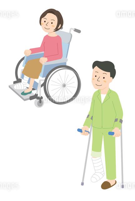 けがと入院(車いす、松葉杖)のイラスト素材 [FYI01653628]