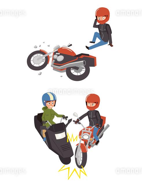 バイク事故(転倒、バイク同士)のイラスト素材 [FYI01653643]
