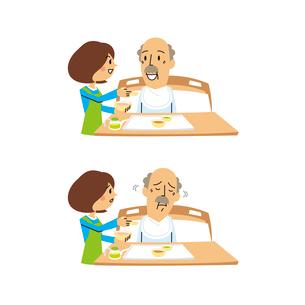 介護食事/シニア男性(食べさせる、食事拒否)のイラスト素材 [FYI01653655]