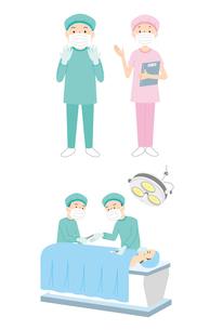 手術着の医者、看護師、手術をしているところのイラスト素材 [FYI01653661]