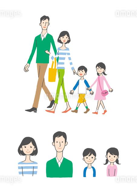 歩く家族、バストアップのイラスト素材 [FYI01653663]