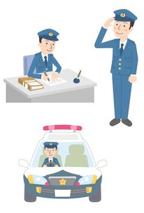 警察官仕事3パターンのイラスト素材 [FYI01653693]