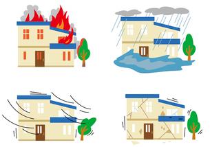 火事・台風・地震・水害のイラスト素材 [FYI01653695]