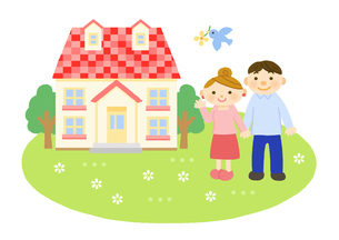 家と家族 (夫婦)のイラスト素材 [FYI01653725]
