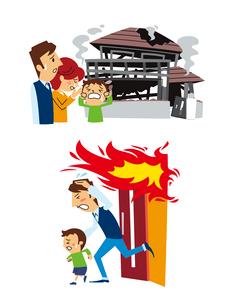 火災保険(全焼した家の前で悲しむ家族、避難)のイラスト素材 [FYI01653727]