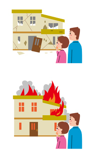 地震・火災を見て悲しげな夫婦のイラスト素材 [FYI01653728]