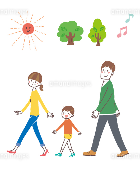 歩く家族のイラスト素材 [FYI01653730]