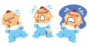 赤ちゃんの湿疹、怪我、夜泣きのイラスト素材 [FYI01653731]