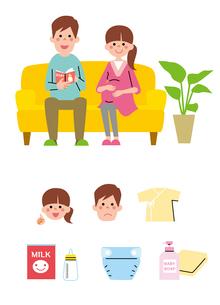 ソファに座る若い夫婦(妊婦)、アイコンのイラスト素材 [FYI01653735]