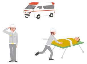 救急車、救急隊員敬礼、仕事シーンのイラスト素材 [FYI01653743]