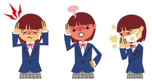 頭痛、発熱、せきの女子高生のイラスト素材 [FYI01653760]