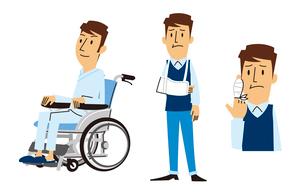 車いすに乗る男性、腕吊りする男性、指に包帯する男性のイラスト素材 [FYI01653767]
