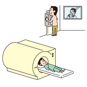 レントゲンを撮る男性、MRI検査をうける男性のイラスト素材 [FYI01653782]