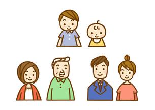 家族・孫と父母と祖父母のイラスト素材 [FYI01653784]