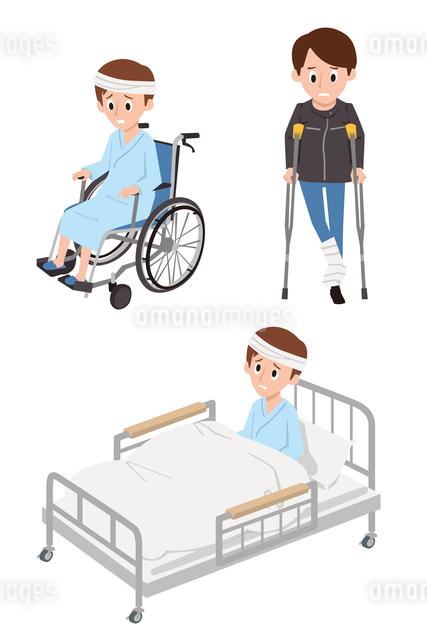 けがと入院(車いす、松葉杖、ベッド)のイラスト素材 [FYI01653786]