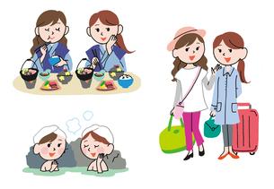 女友達で温泉旅行のイラスト素材 [FYI01653789]