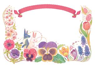 4月(春)をイメージした花とウサギとリボンの飾りのイラスト素材 [FYI01653798]