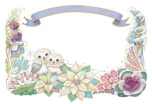 12月(冬)をイメージした花とフクロウとリボンの飾りのイラスト素材 [FYI01653799]