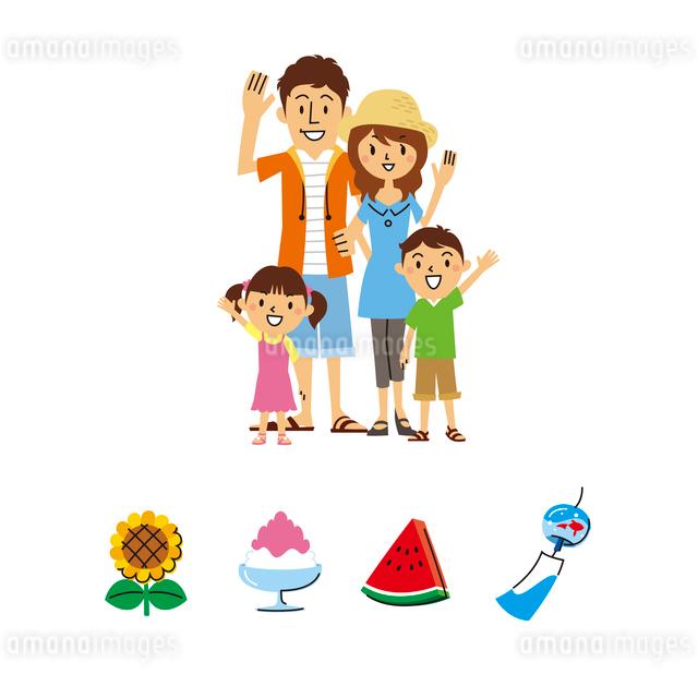 家族、夏のイラスト素材 [FYI01653802]
