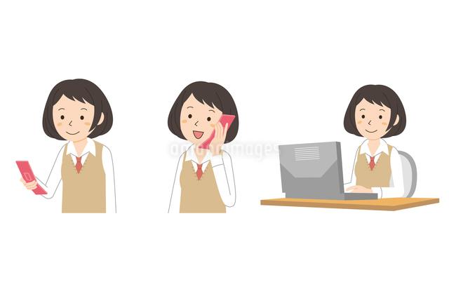 携帯・パソコンを使う女子学生のイラスト素材 [FYI01653803]