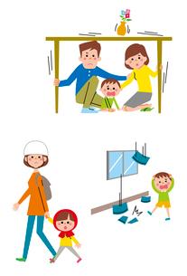 机の下に隠れる親子、地震災害から逃げる子ども・親子のイラスト素材 [FYI01653808]