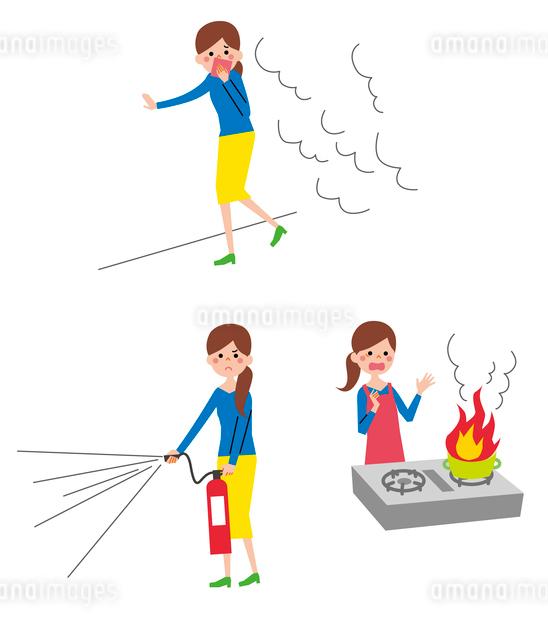 消火器と女性、火事から逃げる女性、調理中の火事のイラスト素材 [FYI01653809]