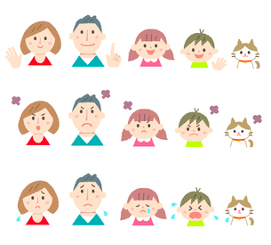 家族の表情パターン違いのイラスト素材 [FYI01653813]