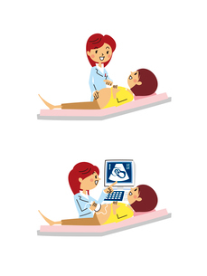 産婦人科/診察、エコー検査のイラスト素材 [FYI01653820]