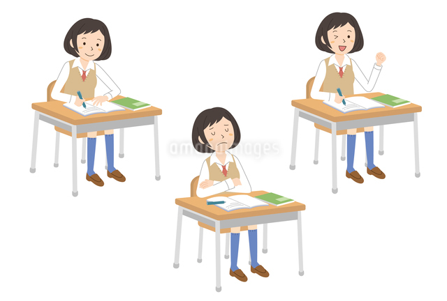 授業を受ける女子学生3パターンのイラスト素材 [FYI01653832]
