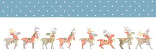 雪のクリスマス サンタクロースを待つ8頭のトナカイたちのイラスト素材 [FYI01653858]