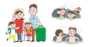 家族で温泉旅行、露天風呂に入っている家族のイラスト素材 [FYI01653869]