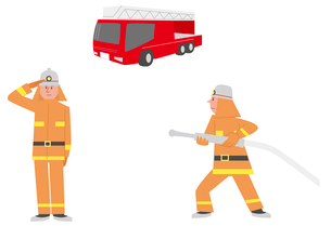 消防車、消防士敬礼、仕事シーンのイラスト素材 [FYI01653893]