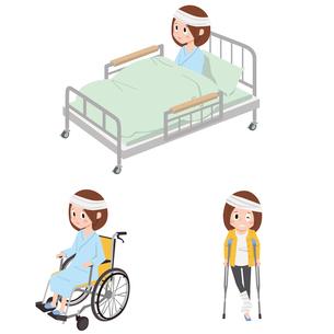入院(ベッド、車いす、怪我)のイラスト素材 [FYI01653894]