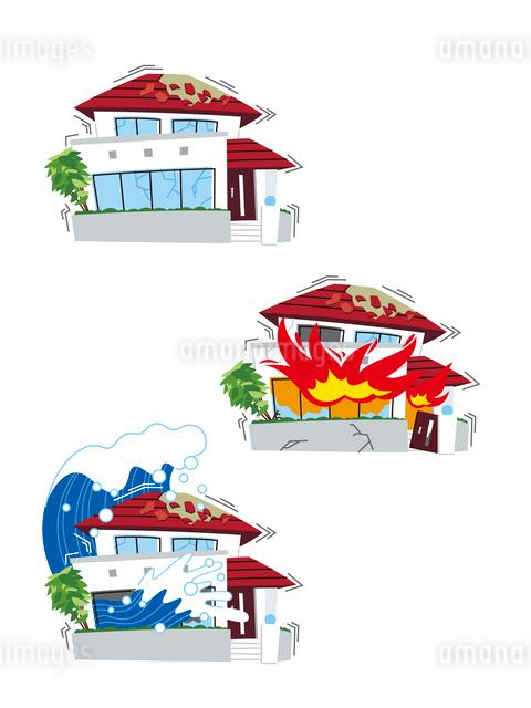 地震保険(地震、地震による火災、地震による津波)のイラスト素材 [FYI01653895]