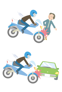 バイク事故(対人、対車)のイラスト素材 [FYI01653900]