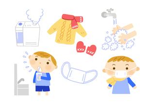 病気の予防 うがいと手洗いとマスクと厚着と加湿器のイラスト素材 [FYI01653904]