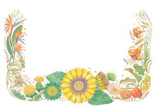 8月をイメージした花の飾りのイラスト素材 [FYI01653927]