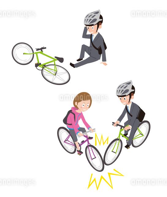 自転車事故(転倒、自転車同士)のイラスト素材 [FYI01653929]