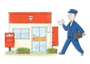 郵便局と郵便局員のイラスト素材 [FYI01653933]