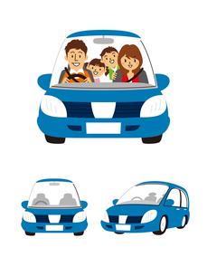 家族(ドライブ)、コンパクトカーのイラスト素材 [FYI01653952]