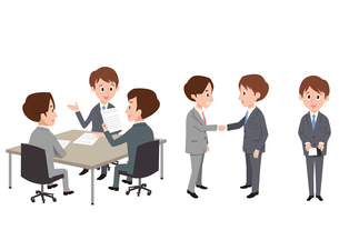 ビジネスシーン(打ち合わせ、握手、名刺)のイラスト素材 [FYI01653977]
