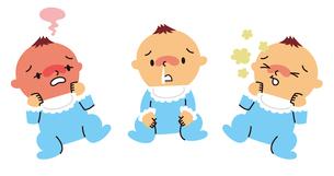 赤ちゃんの発熱、鼻水、せきのイラスト素材 [FYI01653987]