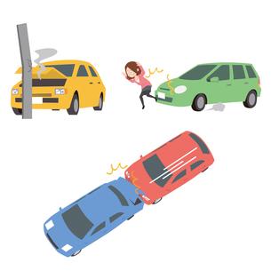 自動車事故(物損事故、人身事故、自動車同士)のイラスト素材 [FYI01654005]